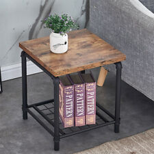 Coffee Table Square End Side Desk w/ Bottom Shelf Industrial Style Living Room