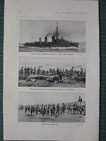1915 WWI WW1 Imprimé ~ Dardanelles Campagne Destroyer Pour Gallipoli ~ Poche