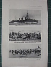 1915 WWI WW1 PRINT ~ DARDANELLES CAMPAIGN DESTROYER TO GALLIPOLI ~ SUVLA BAY
