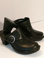 BOC Born Womens Slip On Leather Mules Clogs Shoes Size  8/39 Buckle Black