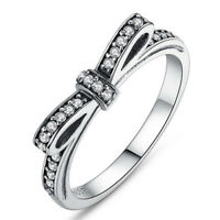 Silver Plated Sparkling Bow Knot Stackable Ring Elegant Women Wedding Jewelry EC