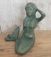 Gorgeous Posing Metal Mermaid Statue Figurine - Nautical, Maritime, Beachy