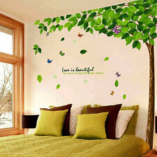 Green Tree Large Beautiful Quote Wall Decals Sticker Removable Home Room Decor