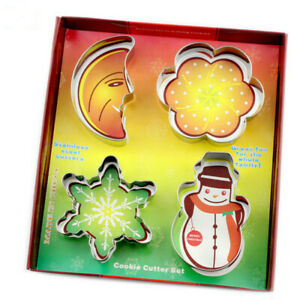 DIY Baking Mould Stainless CHRISTMAS Cookie Cutter Set Include Moon Plum Flower