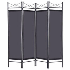 NEW Black 4 Panel Room Divider Privacy Screen Home Office Fabric Metal Frame +++