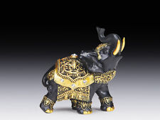 Black Indian Resin Elephant with  Gold Details