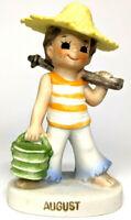 "Vintage 4"" Lefton August Boy Carrying Basket Stick Figurine Collectible"