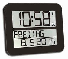 TFA Funkuhr Timeline Max mit Snooze Funktion schwarz