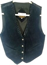 Vintage womens sz small Leather suede  Mona Mode Boho Rodeo western vest black