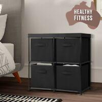 BLACK 4 Cubes DIY Portable Storage Organiser Boxes Cabinet Cube Storage NEW