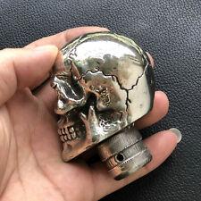 Solid White Copper Casting Skull Car Gear Shift Knob DIY part Cane Crutches Head