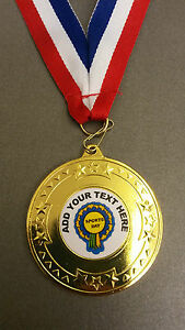 SPORTS DAY MEDAL PERSONALISED SCHOOL CLUB + RIBBON (METAL) GOLD/SILVER OR BRONZE