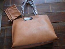 NEW Sociology Women's Reversible Tote Bag and Wristlet - Cognac/Brown SET 2 pcs