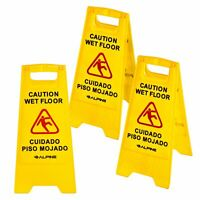 "Alpine Industries Yellow 24"" Caution Wet Floor Sign Set of 3"