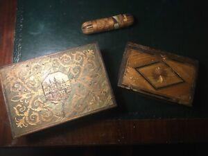 A SAISIR : Lot de 3 pièces en marqueterie de paille (époque Napoléon 3).