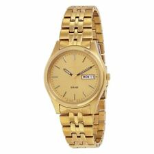 Seiko SNE036 Men's Dress Solar Gold-Tone Stainless Steel Day & Date Watch