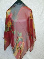 New 100% Silk Scarf Rich Flower Butterfly