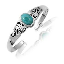Turquoise Bali Sterling Silver Filigree Open Bangle Artisan Bracelet