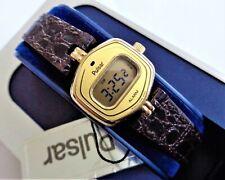 Vintage 1980s Pulsar Art Deco New Old Stock Digital Alarm Ladies Wristwatch