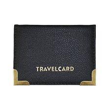 Faux Leather Travelcard / Debit / Credit Card 4-Pocket Sleeve Wallet - Black