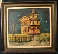 LLOYD ROGNAN Original Framed Oil Painting HAUNTED HOUSE 1961 Illustration Art