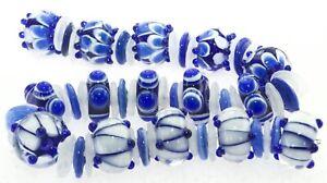 OliveStuart Handmade Lampwork Beads 57 blue/white round/disc