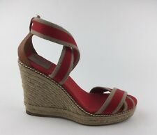 346670cbfb95 Tory Burch Womens Red Tan Canvas Ankle Strap Sandals Wedge Heels Sz US 10