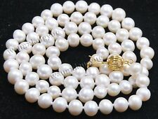 """7-8mm Real Natural White Akoya Cultured Pearl Jewelry Necklace 25"""""""