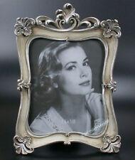 Rokoko Barock Bilderrahmen Fotorahmen Rechteckig Rahmen Silber weiss Holz Antik