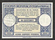 IRC INTERNATIONAL REPLY COUPON SWITZERLAND 50 CENTIMES 1956 **