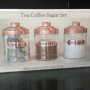 SET OF 3 GLASS TEA COFFEE SUGAR JARS CANISTERS KITCHEN STORAGE COPPER LID JARS