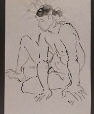 Lois Davis Seated Male Nude Model Ink Drawing Listed Indiana Artist 17 x 12