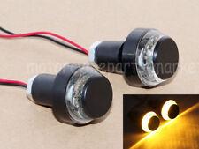 22mm Motorcycle Amber LED Handle Bar End Indicator Grip Plug Turn Signal Light