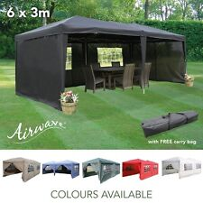AirWave 6x3mtr FULLY WATERPROOF Pop Up Gazebo with Sides and Bag