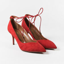 Aquazzura Red Suede Pointy Toe Ankle Strap Mid Heel Pumps SZ 38.5