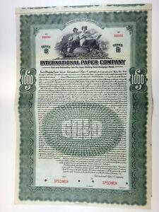 NY. International Paper Co.1917 Specimen $1000 Ser.B Gold Coupon Bond VF ABN