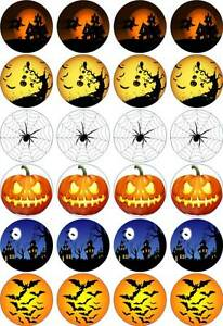 Halloween #1 24 x 4.5cm Cupcake Toppers Printed on  Edible Icing Sheet