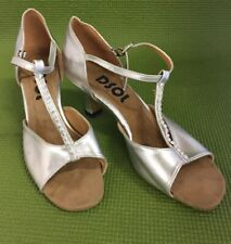 """DSOL Women's Latin Dance Shoes Silver 2"""" Heel size 7.5 Preowned (D13)"""