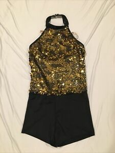 Weissman Gold Sequin Dance Costume Adult Medium AM Leotard Biketard Unitard Jazz