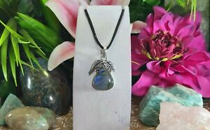 Labradorite Intuition & Protection Pendant 925 Sterling Silver Plated (E989)