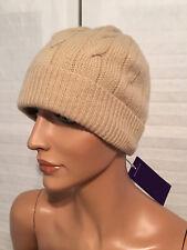 $390 NWT RALPH LAUREN 100% Cashmere Sand Cable Knit Cashmere Liner Hat M.L