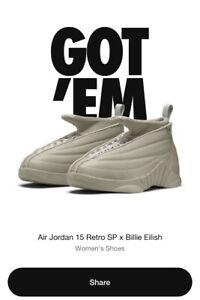 Jordan 15 Retro Billie Eilish Size 11W / 9.5M - Confirmed Order
