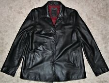 Colebrook Co. Women's Black Leather Fashion Jacket Large Lined Button Up