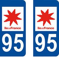 Département 95 sticker 2 autocollants style immatriculation AUTO PLAQUE