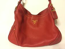 Prada Red Hobo Shoulder Bag Leather Preowned