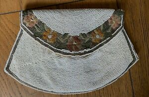 1930s White Embroidered Beaded Evening Bag with Moire Lining