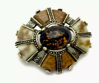 """VINTAGE Gold TONE Faux Amber Agate Glass  """" MIRACLE """" BROOCH Gift Boxed"""