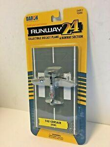 Runway 24 F4U Corsair USN Navy Gray WWII Diecast Fighter Airplane w/ Track Toy