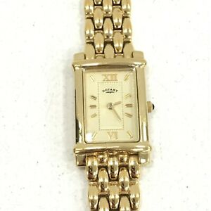 Rotary Watch Rectangle Face Gold Metal Bracelet Strap Smart Analogue 411195