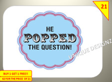 42 He Popped The Question Labels Stickers sweet Cones Gift